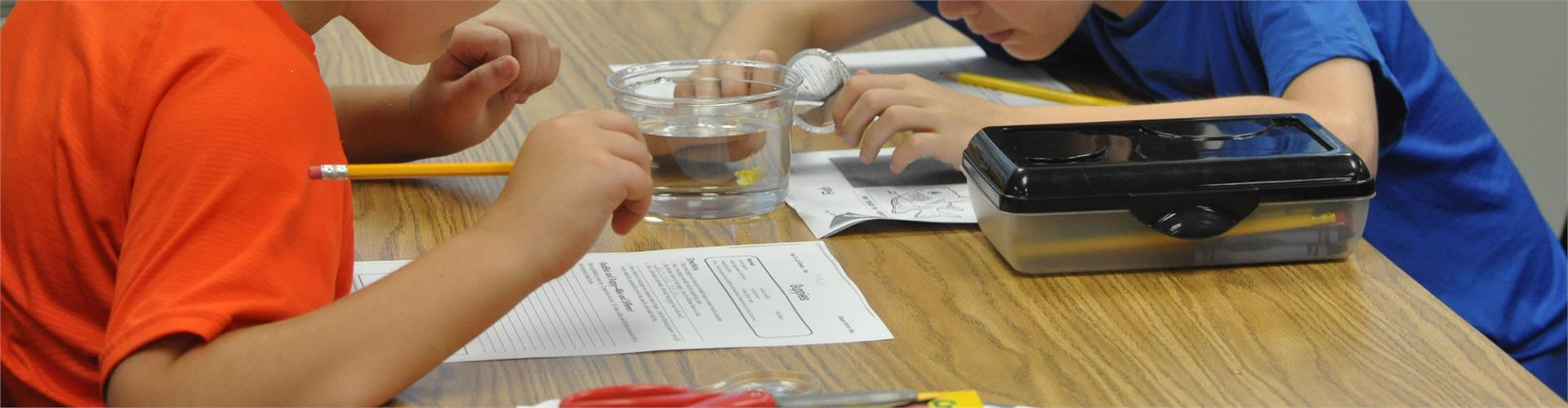 New Palestine Elementary students conducting a science experiment
